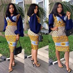 Most stylish collection of ankara short gown styles of 2019 trending today, try these short ankara gown styles African Dresses For Women, African Attire, African Wear, African Women, African Style, Ankara Short Gown Styles, Trendy Ankara Styles, Short Gowns, Kente Styles