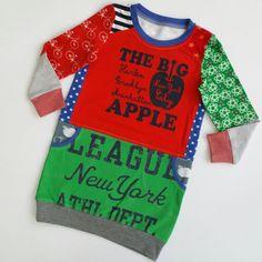 Maat 104 meisjes sweaterjurk gemaakt van hergebruikte en nieuwe tricot girls big apple