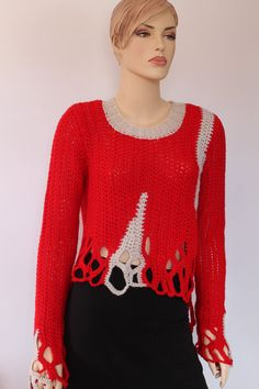 Red Off White Chunky Crochet Long  Sleeved Sweater  by levintovich, $155.00