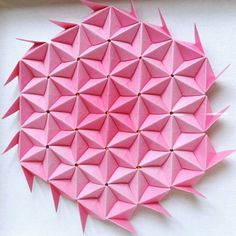 Floral Pink Origami Wall Art 3D Paper Geometric Modern Home Decor Gift