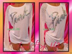 ❤️This week's 99 Cent #VSPINK #Auctions❤️Victoria's Secret PINK S Small WHITE BLING Script Sequins ZEBRA CREW T Shirt Top