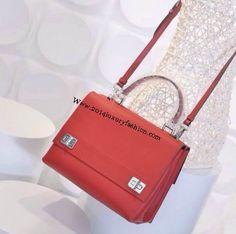 2014 Prada Run way collection- Prada small lux calf leather flap bag red