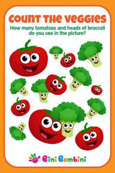 Learn to count with Bini Bambini 🍅🥦 #binibambini #besteducation #teaching #learningnumbers #counting #math #games #apps #happykids #funchildren #toddler #preschool #kindergarten