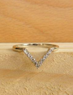 Accentable V Ring  White Diamonds by kateszabone on Etsy