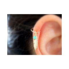 Feather kraakbeen hoop Earring, Feather piercing zilver hoop, zilveren... ❤ liked on Polyvore featuring jewelry, earrings, hoop earrings, feather earrings, feather hoop earrings and feather jewelry