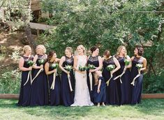 Navy lace, all in a row! Amsale Bridesmaid, Bridesmaid Dresses, Wedding Dresses, Blue Wedding, Wedding Colors, Navy Lace, Hue, The Row, Dance