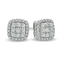 1/2 CT. T.W. Diamond Square Cluster Stud Earrings in 10K White Gold - Gordon's Jewelers