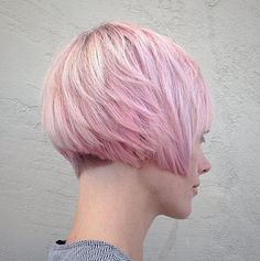 Layered Pink Bob Pixie bob cuts are super cute and just get cuter when you add a light pink touch. Don't be scared of a bob. Graduated Bob Hairstyles, Short Bob Hairstyles, Layered Hairstyles, Short Hair Cuts, Short Hair Styles, Pixie Bob Haircut, Graduation Hairstyles, Stylish Haircuts, Trending Hairstyles