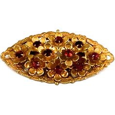 Red Rhinestone Brooch, Gold Filigree Pin, Czech Glass Brooch, 1930's... ($30) ❤ liked on Polyvore featuring jewelry, brooches, red gold jewelry, gold rhinestone brooch, rhinestone jewelry, pin jewelry and art deco brooch
