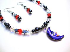 Cloisonne blue moon pendant - delicate hematite & crystal crescent moon necklace necklace - man on the moon necklace by Sparkle City Jewelry...