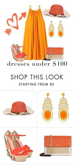 """""""Under $100: Summer Dresses contest"""" by empathetic ❤ liked on Polyvore featuring Alexandra Alberta, Gucci and DKNY"""