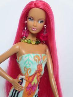 OOAK-Barbie-doll-re-root-reroot-pink-hair-Steffie-face-model-muse-pink-hair