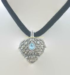 Black Velvet Choker Necklace with Large Pewter Dangle Sapphire Stone Victorian Setting-Elegant by Love2Style4UFashion (formerly Love2Knit4U). Click this PIN to visit Love2Style4UFashion website for more unique selection of beautiful, original, and handmade in USA with Love fashion for Men, Women and Teens, $25.00