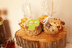 Forest Friends Favor Tags by Pinwheel Lane on etsy -- so cute with peanut covered caramel apples