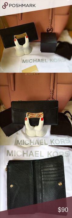 """✨1DAY SALE!✨Auth. Michael Kors Wallet! This Authentic Michael Kors Wallet is in great condition! (Pictures to show the inside) the gold """"Michael Kors"""" plate on the front barely has any scratches at all! There is a little spot on the bottom of it when holding upright & closed, it's not very noticeable but I have to be honest 😉 Michael Kors Bags Wallets"""