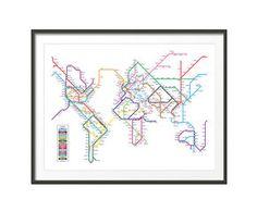 Lámina mapamundi metro