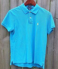 Used RALPH LAUREN POLO SPORT WOMENS Turquoise Blue  Size Large  #RalphLauren #PoloShirt