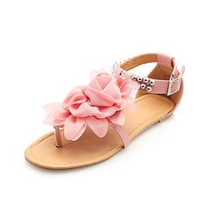 Women's Shoes Leatherette Flat Heel Sandals With Beaded Ankle Strap & Satin Flower More Colors Available - USD $ 9.99