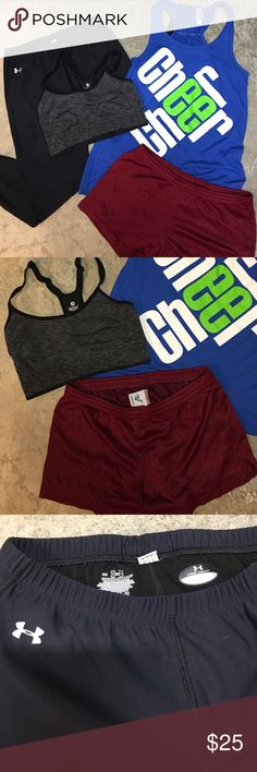 Workout bundle! Under Armour, Old Navy, and more! This workout bundle includes: medium Under Armour spandex pants, Medium Old Navy sports bra, medium Varsity shorts, and a small Bella 'Cheer' tank - outfit could easily fit someone small-medium! All in great condition! Make me an offer! Under Armour Tops Muscle Tees