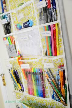 Dorm Room Hacks and Tips - You can also hang a shoe organizer to sort school supplies- talk about a space saver! More College Tips on Frugal Coupon Living.