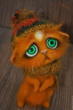Needle felted sad kitten by Olga Zakrevskaya. Precious!