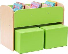 100722 Lage boekenkast voor kinderen in de kleur Groen