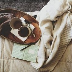 tea, blankets, journal