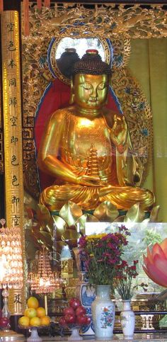 Hong Kong - Gold statues inside Po Lin Monastery, in Lantau (Hong Kong Travel Tips)