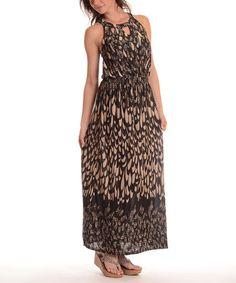 Look at this #zulilyfind! Coffee Abstract Cutout-Yoke Maxi Dress - Plus by Shoreline #zulilyfinds