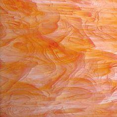 White Orange Wispy 8x8 Stained Glass Sheet (SP 375.1)