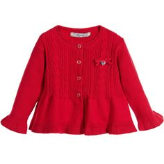 Mayoral - Baby Girls Red Knitted Cotton Peplum Cardigan | Childrensalon