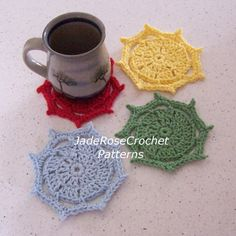 Crochet Pattern Festive Coasters Mug Rugs by JadeRoseCrochet, $3.50