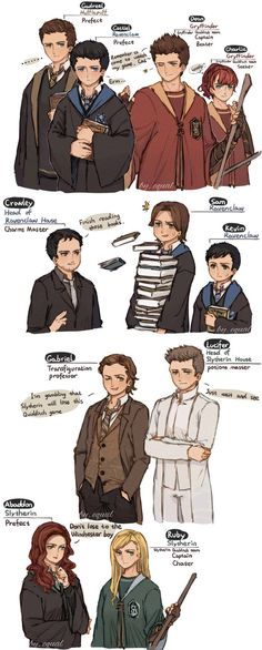 Hogwarts AU by yikooooo; I'd argue that Crowley should be in Slytherin.. or hufflepuff