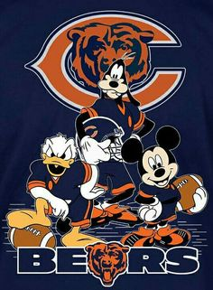 Mickey Mouse, Donald Duck & Goofy in their Chicago Bears unforms Bears Packers, Nfl Bears, Bears Football, Baseball, Chicago Football, Nfl Chicago Bears, Chicago Blackhawks, Chicago Bulls, Chicago Bears Wallpaper