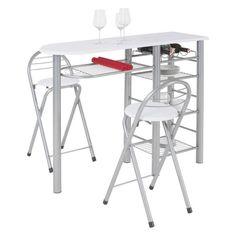 Bár szett, 1 asztallal és 2 összecsukható székkel, asztallap fehér MDF lappal, fém vázzal 4 rácsos polccal, székek fehér MDF üléssel, és fém vázzal, Szé/Ma/Mé:kb.150/75/90cm