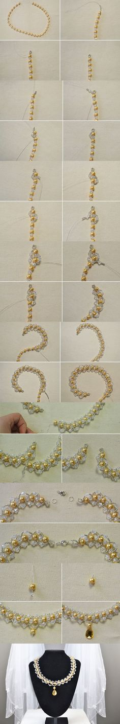Tutorial on How to Make a Golden Pearl Beaded Necklace with a Gold Faceted Drop Rhinestone Cabochon from LC.Pandahall.com           #pandahall