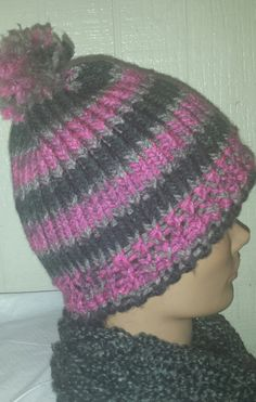 Pink and Gray Striped Beanie by AmberGlamourLand on Etsy, $20.00
