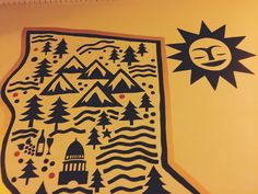 Enjoy Hotel Carlton's lobby mural painted by a local artist, and inspired by the Golden State.
