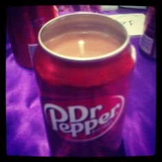 Dr Pepper candle made from Dr Pepper can, I have to make this for my bf mother!