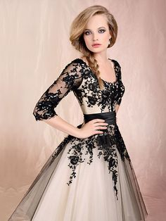 Ball Gown Scoop Tulle Floor-length 1/3 Sleeve Appliques Quinceanera Dresses at pickedlooks.com