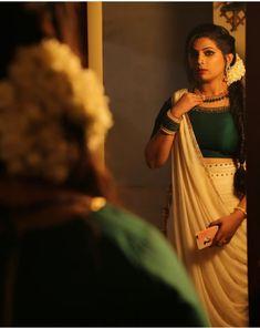 Whatsapp on 9496803123 to customise handwork n cutwork Kerala Saree Blouse Designs, Half Saree Designs, Bridal Blouse Designs, Kerala Engagement Dress, Engagement Dress For Bride, Kerala Traditional Saree, Traditional Dresses, Indian Fancy Dress, Indian Dresses