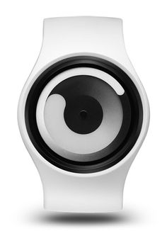 ZIIIRO | Gravity Watch - The ZIIIRO Gravity presents a simple and unique way of reading time. The tip of the inner swirl represents the current hour, while the outer swirl displays the minutes, with a continuous gradient movement showing the passing through time.