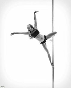 Black and white elegance of a pole dancer