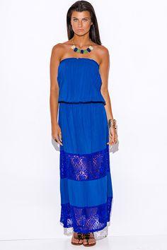 Blue Strapless Sundress