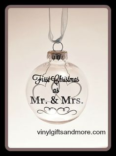 Floating Ornaments - First Christmas as Mr. & Mrs. Hearts - Vinyl and Floater Only