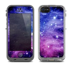 The Purple and Blue Scattered Stars Skin for the Apple iPhone 5c LifeProof frē…