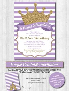 Royal Party Invitations: Purple & gold glitter prince / princess party or baby shower