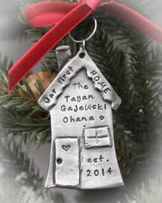 Our First Home Personalized Hand Stamped Christmas Ornament in Pewter by TracyTayanDesigns on Etsy