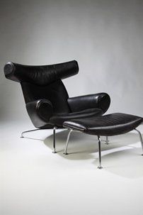 Arm chair with footstool, The Ox. Designed by Hans Wegner, manufactured by Johannes Hansen, Denmark. 1970's.