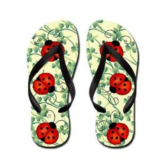 Ladybug Flip Flops #fashion #shoes